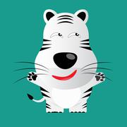 tricky white bengal tiger gartoon character - stock illustration