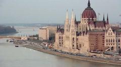Budapest Parliament Traffic Stock Footage