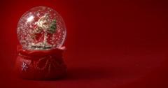 Santa Claus snow globe red 02 - stock footage