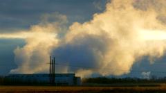 Industrial Cooling Towers Belch Steam into Cold Winter Air Stock Footage