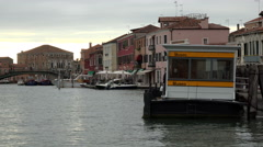 Venice Italy Murano sunset canal Museo taxi stop bridge 4K 039 Stock Footage