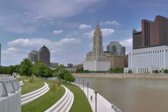 Columbus, Ohio  skyline from Scioto Mile Stock Footage