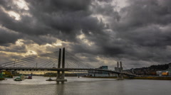 Portland Tilikum Crossing Time Lapse With Clouds Stock Footage