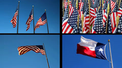 Split Screen Video of American and Texas Flags fluttering Stock Footage