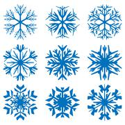 Geometric blue snowflakes set Stock Illustration