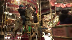 4k Merry-Go-Round closeup at Christmas market Hannover Stock Footage