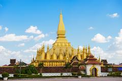 Pha That Luang stupa in Vientiane - stock photo