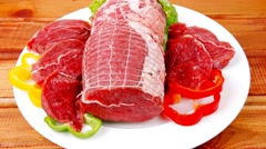 Red meat with vegetables Stock Footage