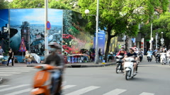 Traffic on Busy Street in Downtown Ho Chi Minh City - Vietnam Stock Footage