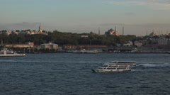 Istanbul Turkey Blue Mosque ferry boat Bosporus Strait 4K 088 Stock Footage