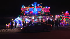 Christmas lights covering house Stock Footage