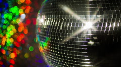 Colourful discoball mirrorball glitterball party disco music club rave Stock Footage