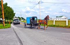 a horse pulling a cart across a beautiful saskatchewan landscape - stock photo