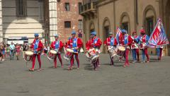 Siena Italy costume parade drummer Corteo Storico square 4K 028 Stock Footage