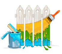 White fence painting maintenance by colour paint by brush roller with full - stock illustration