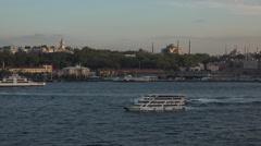 Istanbul Turkey Blue Mosque ferry boat Bosporus Strait fast 4K 088 Stock Footage