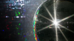 colourful discoball mirrorball glitterball party disco music club rave - stock footage
