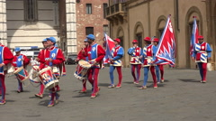 Siena Italy costume parade drummer entering square 4K 028 Stock Footage