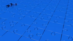 Rotating  puzzle pieces in blue color Stock Footage