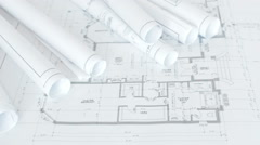 Floor Plans Flat and Rolled Up Stock Footage