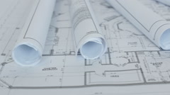 Floor Plans Flat and Rolled Up - stock footage