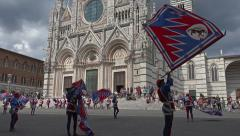 Siena Italy costume parade drummer flags Cathedral 4K 027 Stock Footage