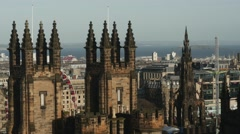 4K Cityscape with The Assembly Hall in Edinburgh, Scotland Stock Footage