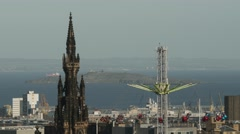 4K Scott Monument and Amusement Park in Edinburgh, Scotland Stock Footage