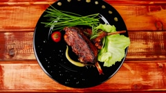 main course: barbecued ribs - stock footage