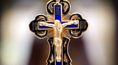 Gold Cross with Jesus Christ - stock footage