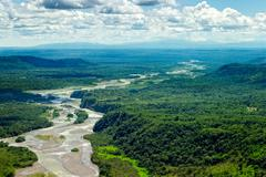 Pastaza River Basin Aerial Shot From Low Altitude Full Size Helicopter Stock Photos
