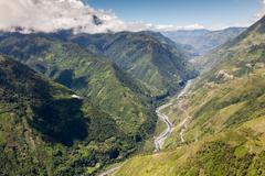 Pastaza Valley Tungurahua Province Ecuador High Altitude Aerial Shot - stock photo