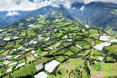Aerial Shot Of Runtun Area Banos De Agua Santa Ecuador Tungurahua Volcano In The Stock Photos