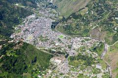 Banos De Agua Santa Wide Angle Aerial Shot View From E To W - stock photo