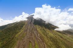 Aerial Shot Of Tungurahua Volcano Central Ecuador High Altitude From Full Size - stock photo
