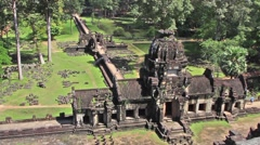 Angkor Temple from above - stock footage