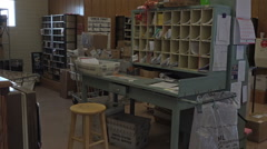 Dec US Post Office sorting room rural community Christmas HD 028 Stock Footage