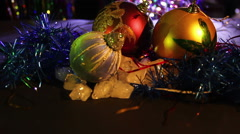 Christmas ornaments and New Year Decoration on Abstract Blurred Background Stock Footage