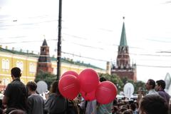 Balls labeled change russia, start with moscow on the opposition rally Stock Photos