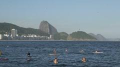 Copacabana Beach and Sugarloaf (Pão de Açúcar) - Rio de Janeiro - Brazil Stock Footage