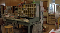 Dec US Post Office sorting room rural community HD Stock Footage