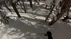 Skier POV skiing through heavy powder - stock footage