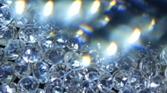 Diamonds through the refracting glass Stock Footage