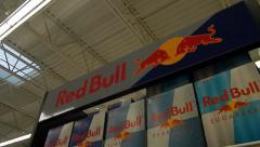 Towering shelf of Red Bull Stock Footage