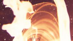 Spurts of flame and sparks vortices in slow motion Stock Footage