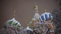 A view of the St. Basil's Cathedral through the snow-covered branches. Moscow Stock Footage