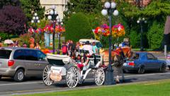 4K Horse Drawn Carriage, Tally Ho, Traditional Tourism in Victoria Canada City Stock Footage