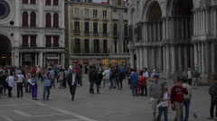 Venice Italy people St Marks Basilica Square 4K 010 Stock Footage