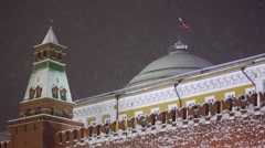 Russian Federation flag over the Kremlin during a snowfall, Moscow, Russia Stock Footage