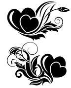 Black floral design element Stock Illustration
